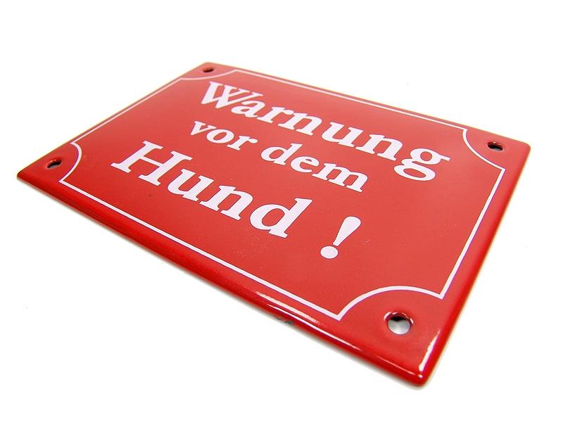 emaille schild warnung vor dem hund email schild warnschild gm esc 002 ebay. Black Bedroom Furniture Sets. Home Design Ideas